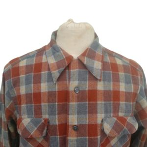 Pendleton Plaid Loop Collar Shirt Elbow Patches XL